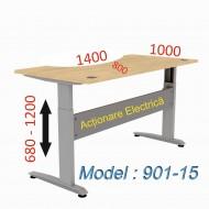 Birou reglabil  901-15 / Blat 140C Mesteacan - ERGONOMIC